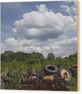 Old Tractor Junkyard Wood Print