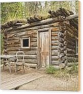 Old Traditional Log Cabin Rotting In Yukon Taiga Wood Print