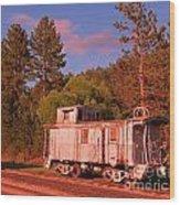 Old Train Caboose Wood Print