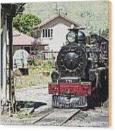 Old Train Engine Wood Print