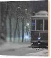 Old Tram On The  Street Wood Print
