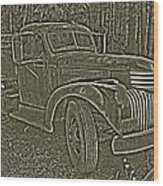 Old Truck In Sepia Wood Print