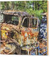 Old Trucks And Old Bicycles Wood Print