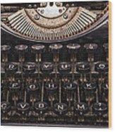 Old Typewriter Wood Print