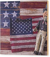 Old Uncle Sam And Flag Wood Print by Garry Gay