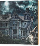 Old Victorian House Wood Print by Mo T