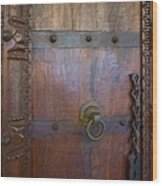 Old Vintage Door With Chain  Wood Print
