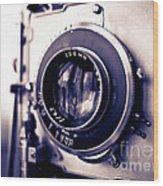 Old Vintage Press Camera  Wood Print