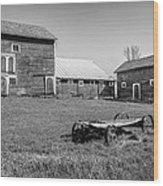 Old Wagon And Barns Wood Print