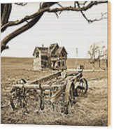 Old Wagon And Homestead Wood Print