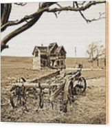 Old Wagon And Homestead II Wood Print by Athena Mckinzie