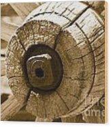 Old Wagon Wheel - Sepia Rendering Wood Print