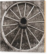 Old Wagon Wheel Wood Print by Olivier Le Queinec