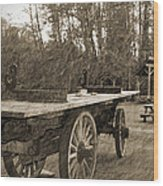 Old Wagon With Antique Water Wheel Wood Print