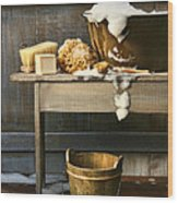 Old Wash Tub With Soap And Scrub Brushes Wood Print