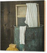 Old Washboard Laundry Days Wood Print by Edward Fielding