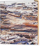 Old Weathered Log On The Sea Shore Wood Print