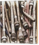 Old Weaving Spools Wood Print