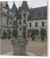 Old Well And Courtyard Chateau Chaumont Wood Print