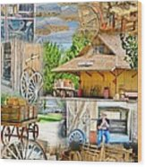 Old West Collage Wood Print