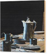 Old West Table Setting Wood Print