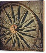 Old West Wagon Wheel Wood Print