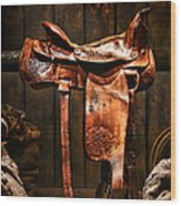 Old Western Saddle Wood Print by Olivier Le Queinec