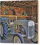 Old White Ford Tractor Wood Print