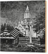 Old Whitewashed Lemyethna Temple Bw Wood Print