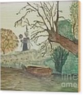 Old Willow And Boat Wood Print