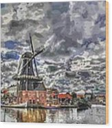 Old Windmill On The Shore Wood Print by Maciej Froncisz