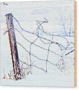 Old Wire Fence Wood Print