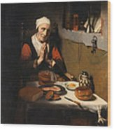 Old Woman At Prayer Wood Print