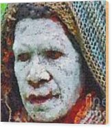 Old Woman In Traditional Shawl Wood Print