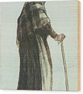 Old Woman Seen From Behind Wood Print