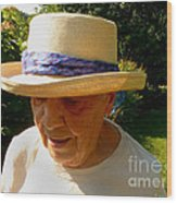 Old Woman Wearing Straw Hat Wood Print