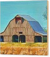 Old Wood Barn  Digital Paint Wood Print