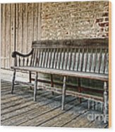 Old Wood Bench Wood Print