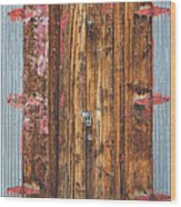 Old Wood Door With Six Red Hinges Wood Print