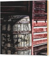 Old Wooden Barrel Wood Print