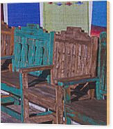 Old Wooden Benches Wood Print by Garry Gay