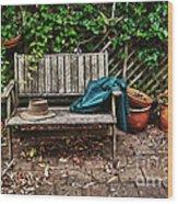 Old Wooden Garden Bench  Wood Print
