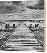 Old Wooden Jetty During Storm On The Sea Wood Print
