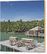 Old Wooden Pier Of Koh Rong Island In Cambodia Wood Print