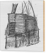 Old Wooden Shed Wood Print by Diane Palmer