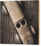 Old Wooden Vintage Toy Car Wood Print