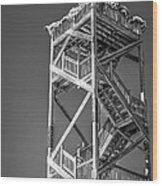 Old Wooden Watchtower Key West - Black And White Wood Print by Ian Monk