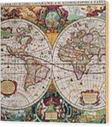 Old World Map Wood Print