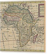 Old World Map Of Africa Wood Print