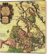 Old World Map Of Canada Wood Print